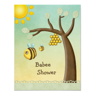 Douche mignonne de Babee d'abeilles, d'arbre et de Carton D'invitation 10,79 Cm X 13,97 Cm