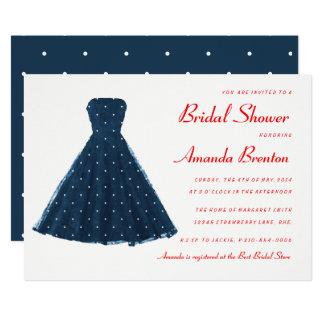 Douche nuptiale d'accents rouges vintages carton d'invitation  12,7 cm x 17,78 cm
