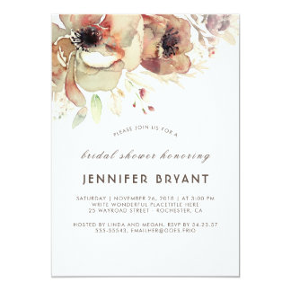 Douche nuptiale d'automne floral vintage carton d'invitation  12,7 cm x 17,78 cm