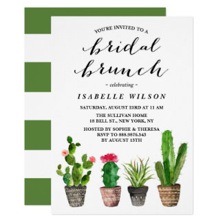 Douche nuptiale de brunch de Succulents Carton D'invitation 12,7 Cm X 17,78 Cm