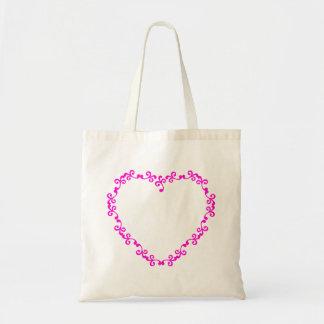Douche nuptiale de coeur de mariage fuchsia floral sac en toile budget