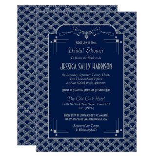 Douche nuptiale de Gatsby d'art déco vintage des Carton D'invitation 12,7 Cm X 17,78 Cm