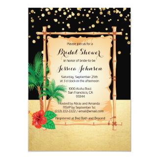 Douche nuptiale de plage d'or noir tropical de carton d'invitation  12,7 cm x 17,78 cm