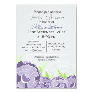 Douche nuptiale de ressort floral pourpre carton d'invitation  12,7 cm x 17,78 cm