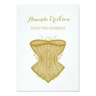 Douche nuptiale d'élégance d'or de lingerie simple carton d'invitation  12,7 cm x 17,78 cm