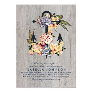 Douche nuptiale élégante florale vintage de carton d'invitation  12,7 cm x 17,78 cm