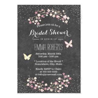 Douche nuptiale florale de papillon vintage de carton d'invitation  12,7 cm x 17,78 cm