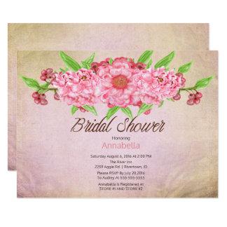 Douche nuptiale florale de pivoines vintages carton d'invitation  13,97 cm x 19,05 cm
