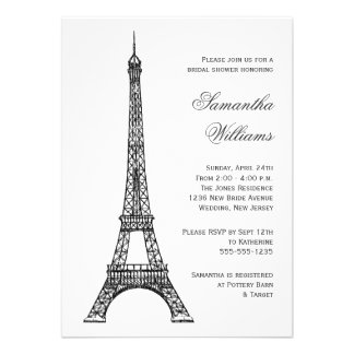Douche nuptiale noire et blanche de Tour Eiffel pa Faire-part Personnalisables