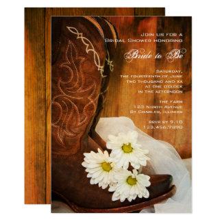 Douche nuptiale occidentale de bottes de cowboy de carton d'invitation  12,7 cm x 17,78 cm