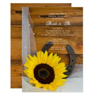 Douche nuptiale occidentale de pays en fer à carton d'invitation  12,7 cm x 17,78 cm