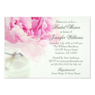 Douche nuptiale rose vintage de pot de maçon de carton d'invitation  12,7 cm x 17,78 cm