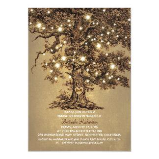 douche nuptiale rustique de vieux chêne vintage carton d'invitation  12,7 cm x 17,78 cm