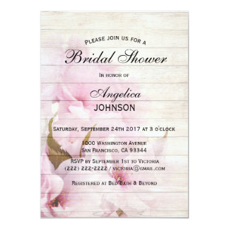 Douche nuptiale vintage chic rustique carton d'invitation  12,7 cm x 17,78 cm