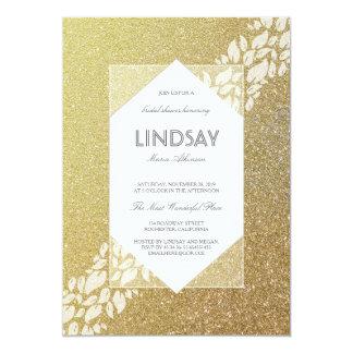 Douche nuptiale vintage élégante d'or de carton d'invitation  12,7 cm x 17,78 cm