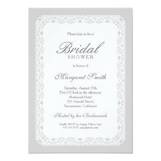 Douche nuptiale vintage grise créative unique carton d'invitation  12,7 cm x 17,78 cm