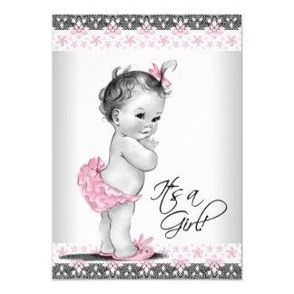 Douche rose et grise vintage de bébé carton d'invitation  12,7 cm x 17,78 cm