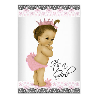 Douche rose et grise vintage de bébé carton d'invitation 8,89 cm x 12,70 cm