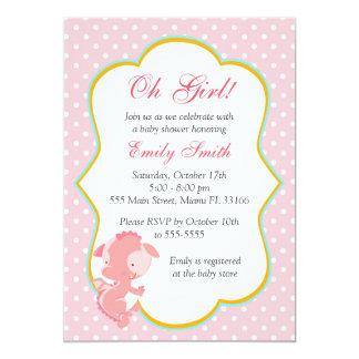 Douche van het Meisje van het Baby van de Stippen 12,7x17,8 Uitnodiging Kaart