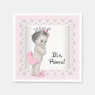 Douche vintage rose et grise de bébé serviettes jetables
