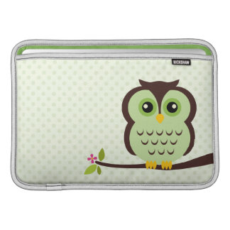 Douille d'air verte de Macbook de hibou Poches Pour Macbook Air