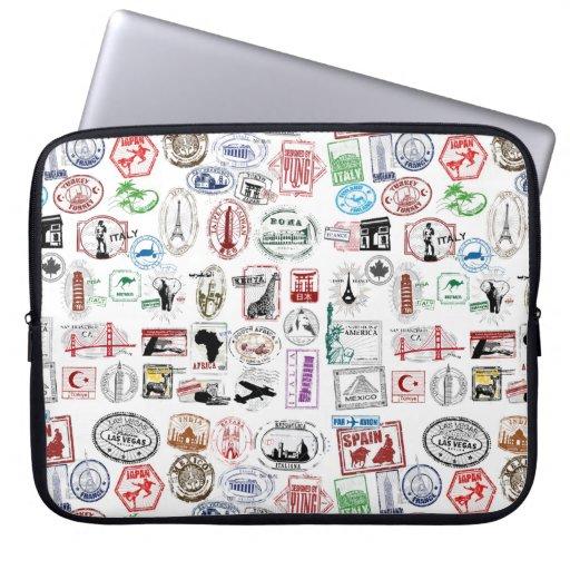 Douille de cas de motif de timbres de voyage housses pour ordinateur portable