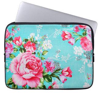 Douille florale rose chic vintage d'ordinateur housse ordinateur portable
