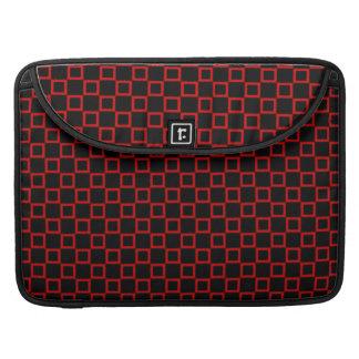 Douille rouge noire classique d'aileron de housse pour macbook