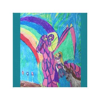 Draak en prinses en wolf canvas afdruk