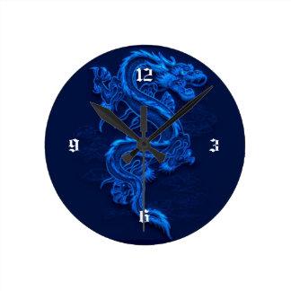 Dragon chinois bleu horloge ronde