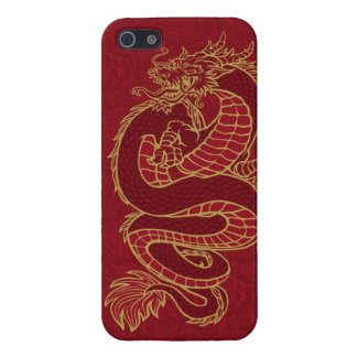 Dragon chinois d'or sur le rouge iPhone 5 case