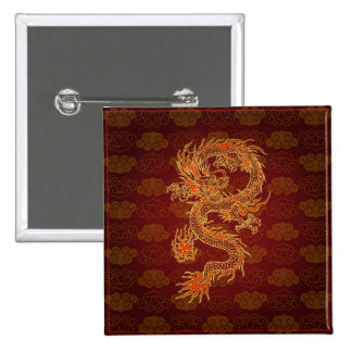Dragon de rouge de chinois traditionnel badge carré 5 cm