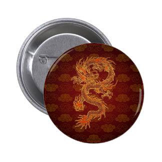 Dragon de rouge de chinois traditionnel badge rond 5 cm