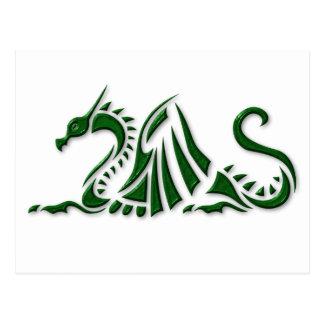 Dragon vert métallique carte postale
