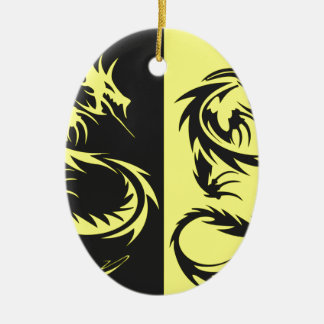 Dragons jaunes ornement ovale en céramique