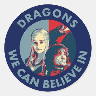 Dragons que nous pouvons croire à l'autocollant de sticker rond