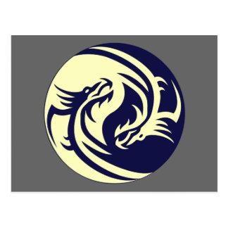Dragons tribaux Yin Yang (personnalisable) Carte Postale