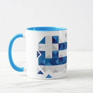 Drapeau abstrait de la Grèce, tasse grecque