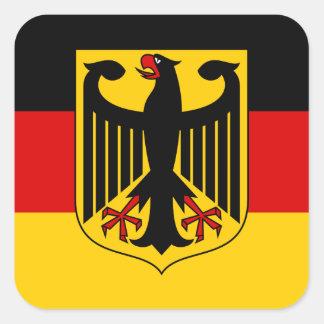 Drapeau allemand avec l autocollant de crête carr