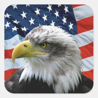 Drapeau américain chauve patriotique d'Eagle Sticker Carré