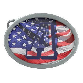 Drapeau américain dans la boucle de ceinture de la
