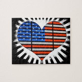 Drapeau américain de coeur de patriote puzzle