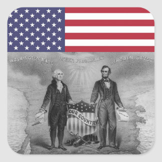 Drapeau américain de George Washington Abraham Sticker Carré