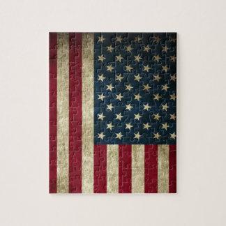 Drapeau américain des Etats-Unis de grunge Puzzle