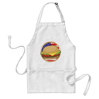 Drapeau américain d'hamburger tablier