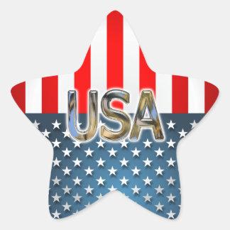 Drapeau américain en forme d'étoile sticker étoile