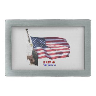 Drapeau américain et Eagle des Etats-Unis Boucle De Ceinture Rectangulaire