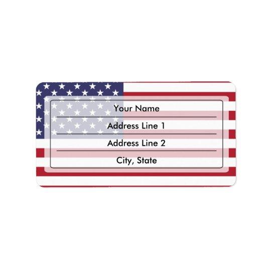 Drapeau américain étiquette d'adresse