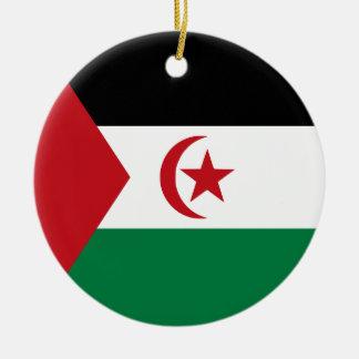 Drapeau arabe de République Democratic de Sahrawi Ornement Rond En Céramique