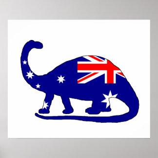 Drapeau australien - brontosaure poster